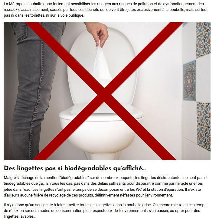 Lingettes pas si biodegradables qu affiche